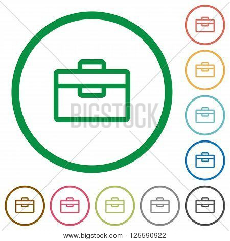 Set of toolbox color round outlined flat icons on white background