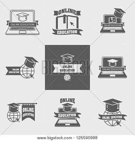Set Of Online Education Logos, Labels, Signs Or Badges Templates With Laptop, Book, Globe And Mortar