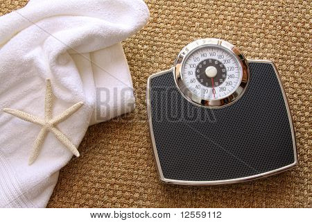 Weight Scale With Towel On Carpet
