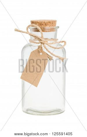 Empty vintage bottle with label and cork isolated on white
