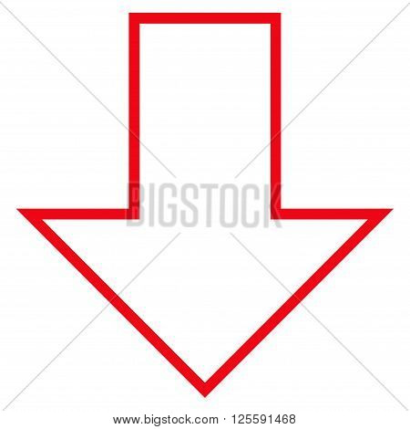 Arrow Down vector icon. Style is contour icon symbol, red color, white background.