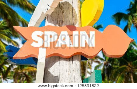 Spain signpost with palm trees