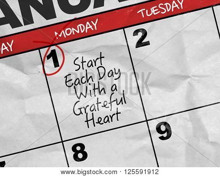 Concept image of a Calendar with the text: Start Each Day With a Grateful Heart