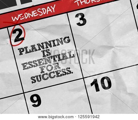 Concept image of a Calendar with the text: Planning is Essential For Success