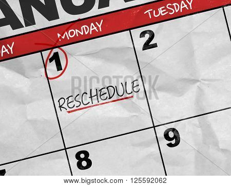 Concept image of a Calendar with the text: Reschedule
