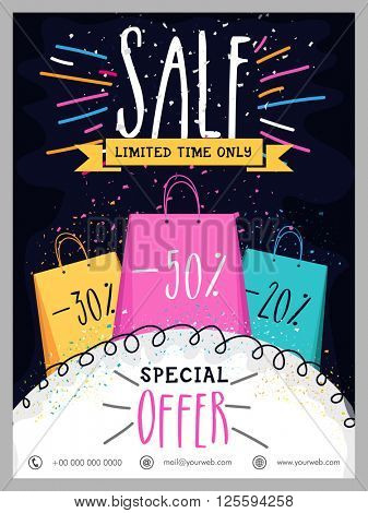 Limited Time Sale Poster, Sale Banner, Sale Flyer, Special Discount Offers.Creative illustration with colorful shopping bags.