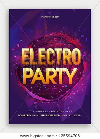 Electro Musical Party Template, Dance Party Flyer, Night Party Banner or Club Invitation design.