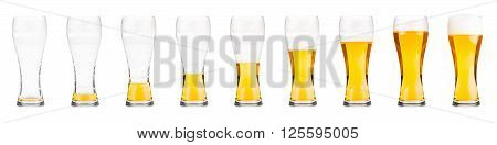 Glasses with beer showing a drinking sequence.