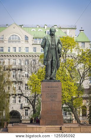 Kyiv, Ukraine - April 10, 2016: Monument to the famous ukrainian poet Taras Shevchenko in Kyiv Ukraine (Sculptor Matvey Manizer)