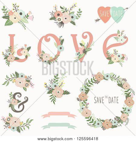 Floral Wedding invitation design elements