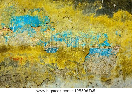 Yellow and blue grungy wall texture