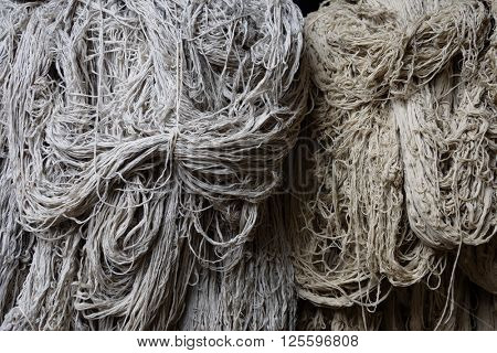 Heap of wool in a rug factory