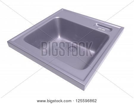 kitchen sink isolated on white background. easy to use. metall. Housework.  3D illustration