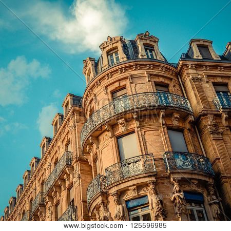 Traditional Old Residential Architecture With Balconies In Toulouse The South Of France