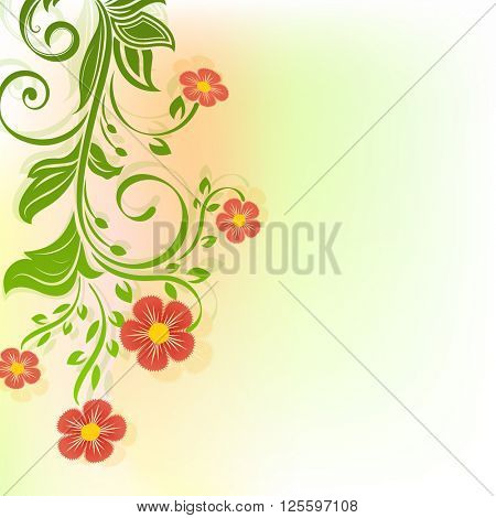 Abstract red flowers spring background with copy space.