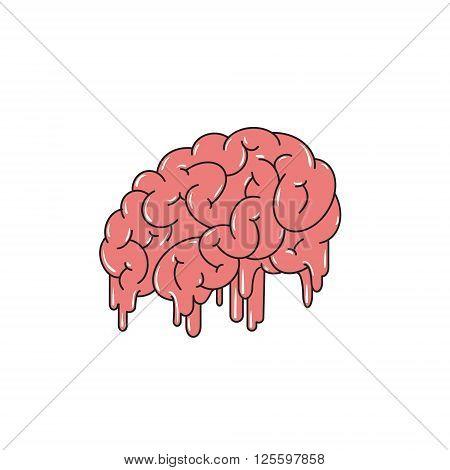 Melting brain isolated on white background. Vector illustration