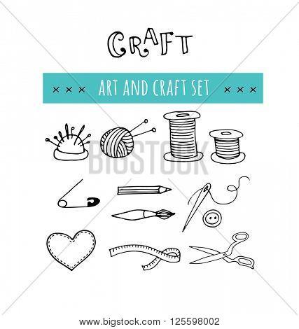 Handmade, crafts workshop icons. Hand drawn illustrations
