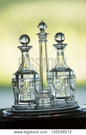 Crystal Glassware decanters on display on a tray