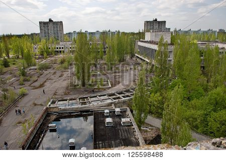 Aeiral view of the central square of abandoned Pripyat town in Chernobyl Exclusion Zone, place of Chernobyl nuclear disaster in Ukraine