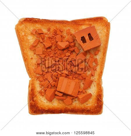 fragments of bricks on toasted bread. concept. to take something to pieces. make mincemeat out of. isolated on white background