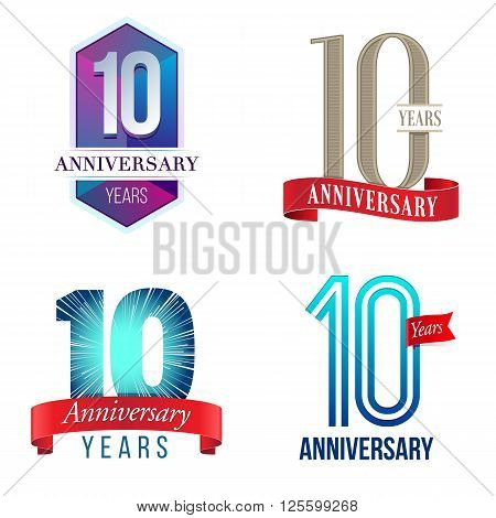 A Set of Symbols Representing a 10 Years Anniversary/Jubilee Celebration