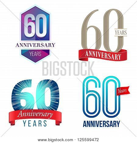 A Set of Symbols Representing a 60 Years Anniversary/Jubilee Celebration