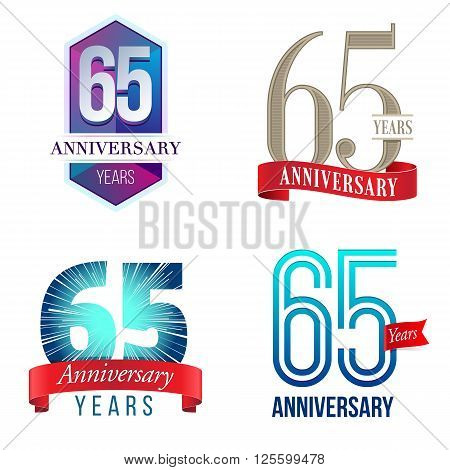 A Set of Symbols Representing a 65 Years Anniversary/Jubilee Celebration