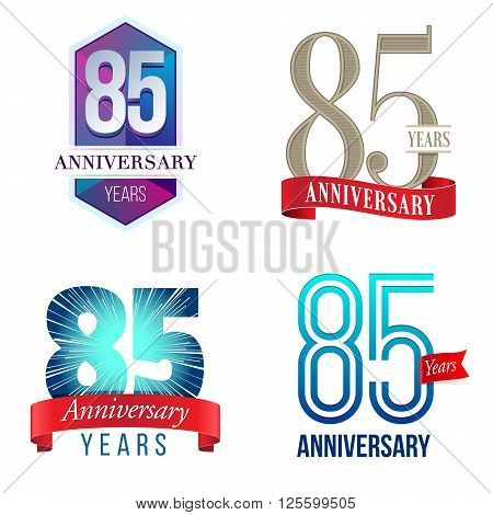 A Set of Symbols Representing an 85 Years Anniversary/Jubilee Celebration
