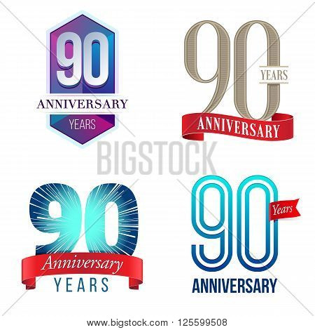 A Set of Symbols Representing a 90 Years Anniversary/Jubilee Celebration