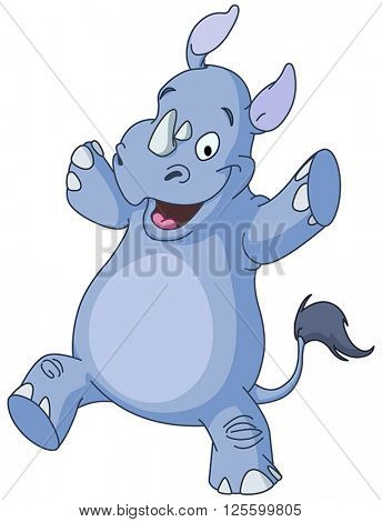 Happy rhino dancing