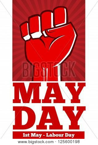 Vector stock of labor day poster concept with bend clenched tight