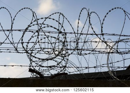 Prison Wall Barbed Wire Fence Detail With Blue Sky In Background