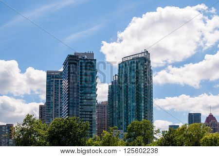 MISSISSAUGA CANADA - JUNE 16 2013: Modern residential condo tower developments fill the skyline as the city rapidly grows.