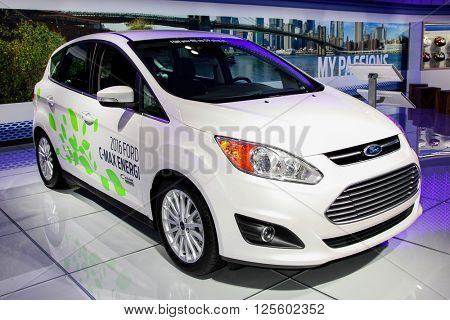 NEW YORK - March 23: A FordC-max Energi from exhibit at the 2016 New York International Auto Show during Press day,  public show is running from March 25th through April 3, 2016 in New York, NY.