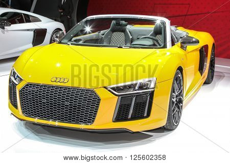 NEW YORK - March 23: A Audi R8 Spyder at the 2016 New York International Auto Show during Press day,  public show is running from March 25th through April 3, 2016 in New York, NY.