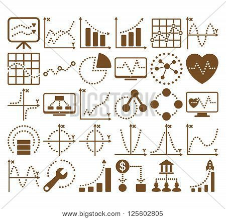 Business Charts With Circle Dots vector icons. Style is brown flat symbols on a white background.