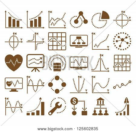 Business Charts With Square Dots vector icons. Style is brown flat symbols on a white background.