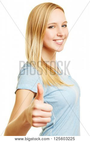 Young blonde woman holding thumbs up for congratulation after a victory