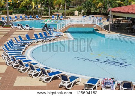 Varadero island, Villa Cuba, Cuba, Apr. 30, 2014, gorgeous amazing view of Villa Cuba resort swimming pool on sunny day