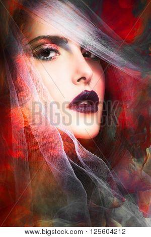 fantasy colorful woman portrait with veil composite photo