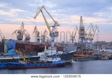 St. Petersburg, Russia - on April 3, 2016: Cargo port in St. Petersburg, Russia