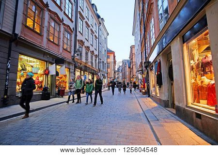 Stockholm, Sweden - March, 16, 2016: landscape with the image of Old Town street in Stockholm, Sweden
