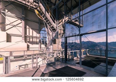 Malcesine Italy - January 18 2016: Platform outside the mountain station of the Malcesine-Mount Baldo cableway Italy