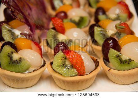 Fresh mixed fruit tart ready for dessert