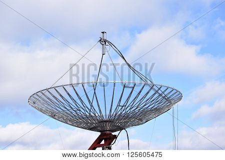 Large Radar Dish Against Vibrant Blue Sky ** Note: Soft Focus at 100%, best at smaller sizes