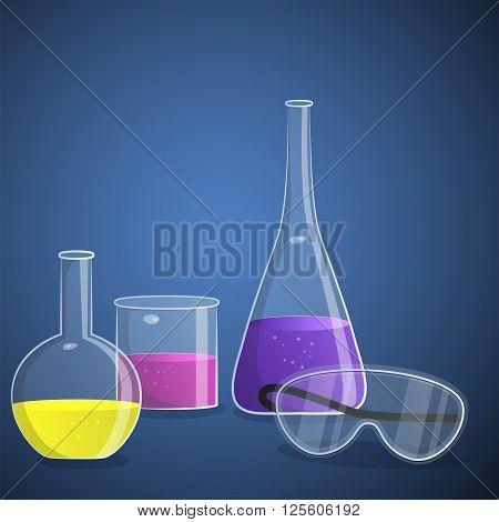 Illustration of laboratory equipment. Colorful laboratory background.