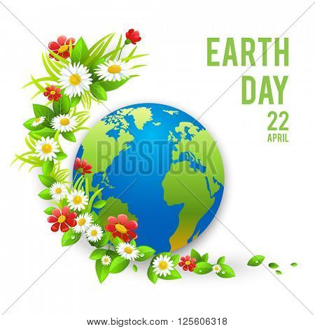 Love planet green eco card. Concept for design banner,ticket, leaflet and so on.Template page for Earth day. Holiday card. Green globe and flowers.
