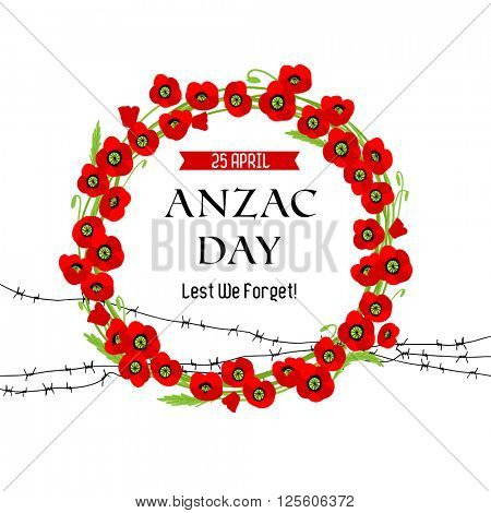 A wreath of poppies and barbed wire card for design banner,ticket, leaflet and so on. Template page.