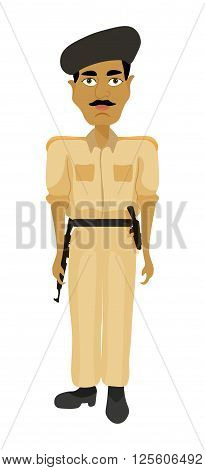 Indian police man with arms in a brown dress. vector illustration