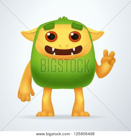 Cute Cartoon Green beast with victory gesture. Fun Fluffy impossible creature isolated on white background
